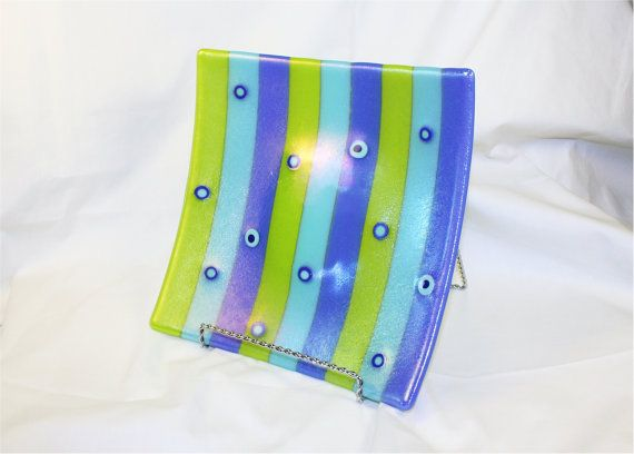 Handmade Fused Glass Plate  Square Fused Glass by Chateau694Glass