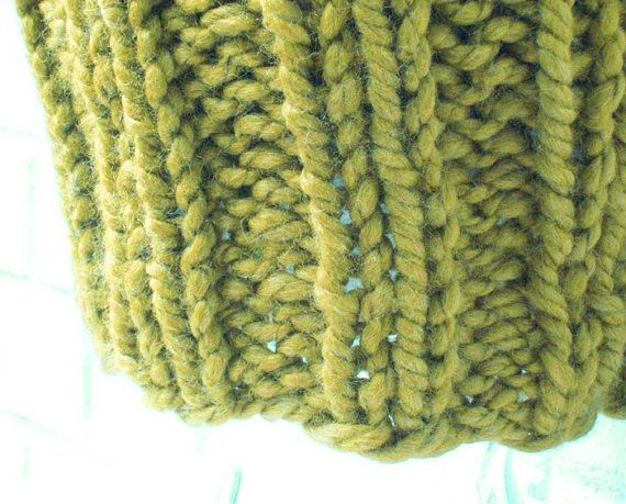 Green Chunky Knit Hat  Apple Green by HeartsContentByCat on Etsy
