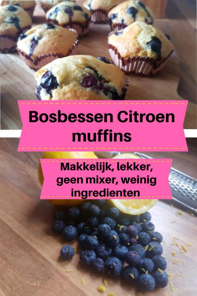 Bosbessen citroen muffin, cake, makkelijk, weinig nodig