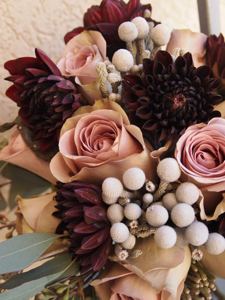eggplant dahlias, amnesia roses, silver brunia, would be stunning with silver bridesmaid dresses