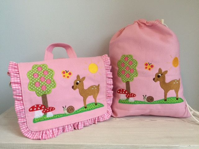 Kindergartentaschen - Zauberhaftes Set Tasche u. Turnbeutel- Reh!  - ein Designerstück von Goldfisch17 bei DaWanda