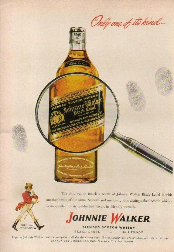 1947 Johnnie Walker Scotch Whisky Black Label Only ONE OF IT'S Kind Whiskey AD | eBay