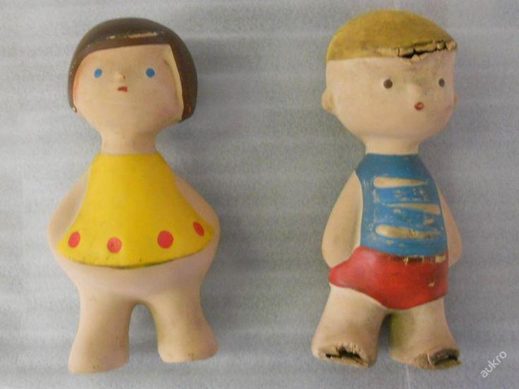 gumové hračky s kovovým pískátkem, v 17cm, návrh Libuše Niklová, RARE