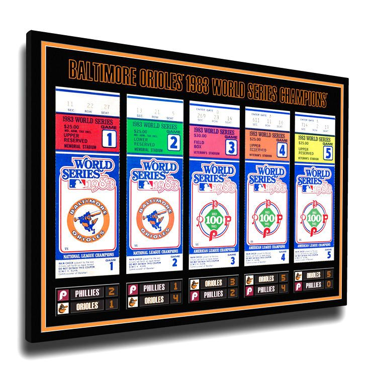 Baltimore Orioles 1983 World Series Champions Tickets To History Canvas Print - $55.99