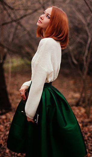 Choies Green Midi Skater Skirt