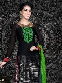 Black and  French Crape Print  Salwar kameez, Designer salwar kameez DE-8978