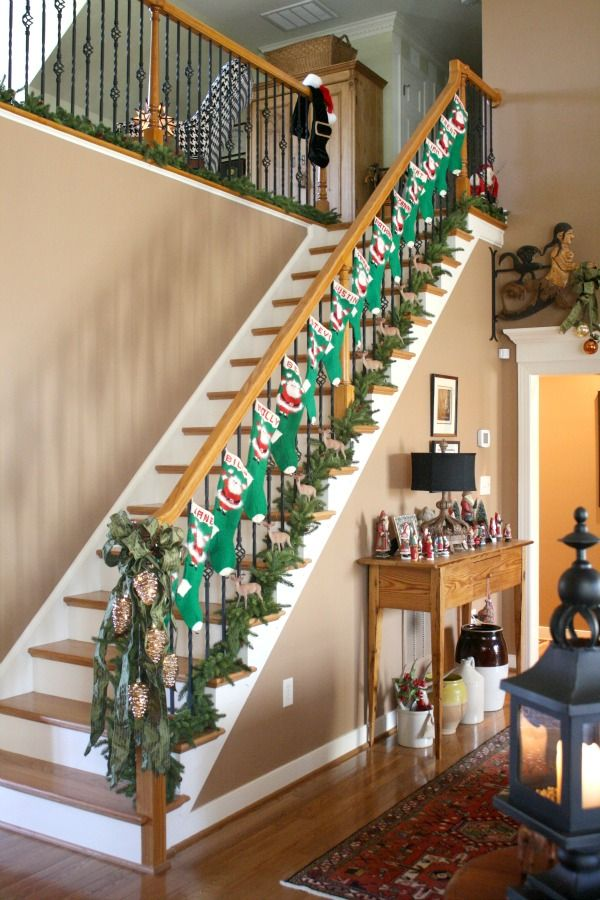 559 best christmas images on pinterest candies for Stair railing decorated for christmas