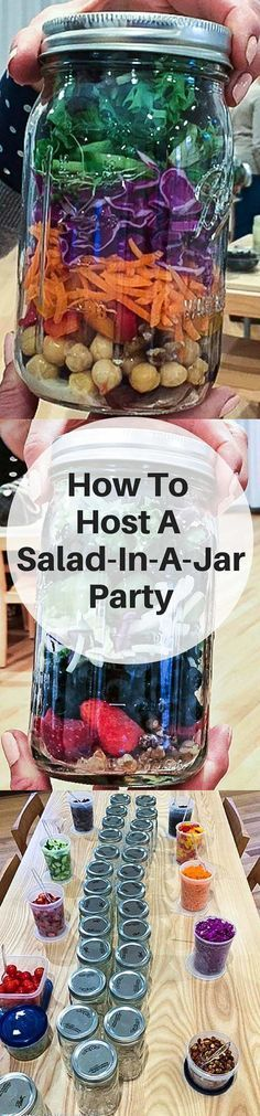 How To Host A Salad In A Jar Party - Get all the instructions you need to plan this fun group activity for your next girls night out ~ http://jeanetteshealthyliving.com