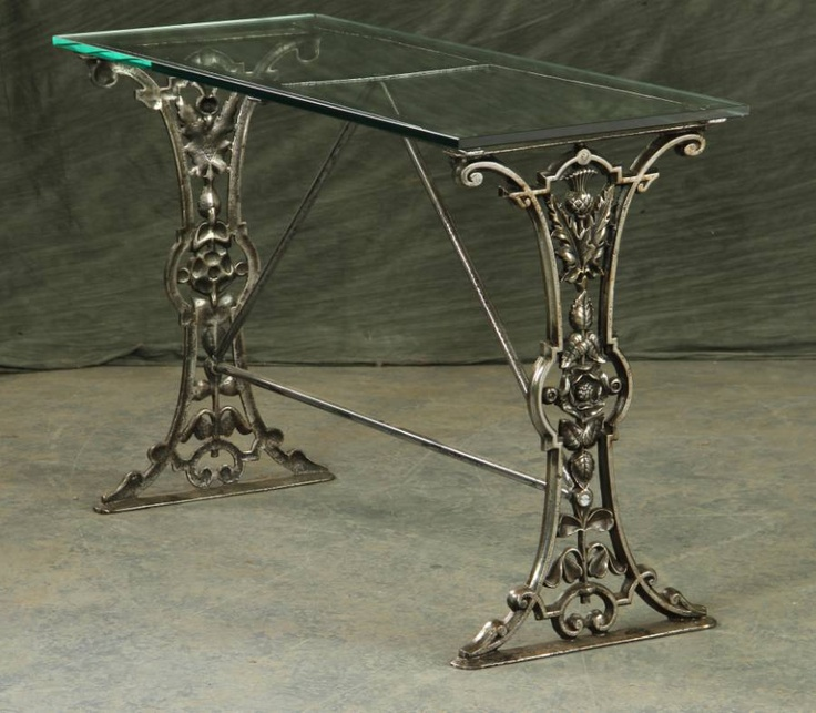 19th century polished cast iron table base with glass top for Cast iron table with glass top