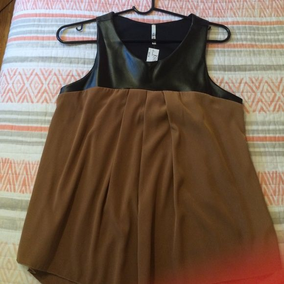 LeAther and silk tang top Black and bronze dress up tank vijo couture Tops
