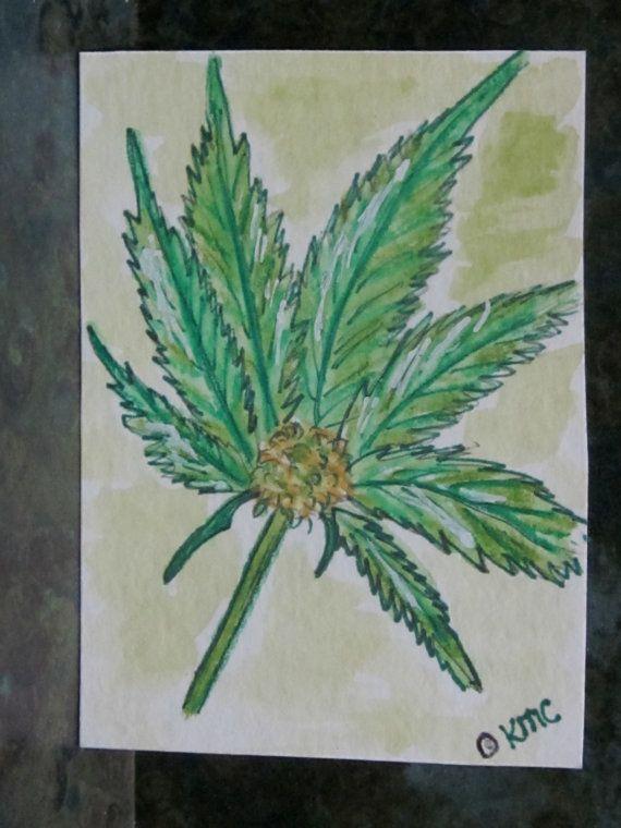 ACEO Art Card Marajuana Leaf Original Watercolor by LeftoverStuff, $10.00