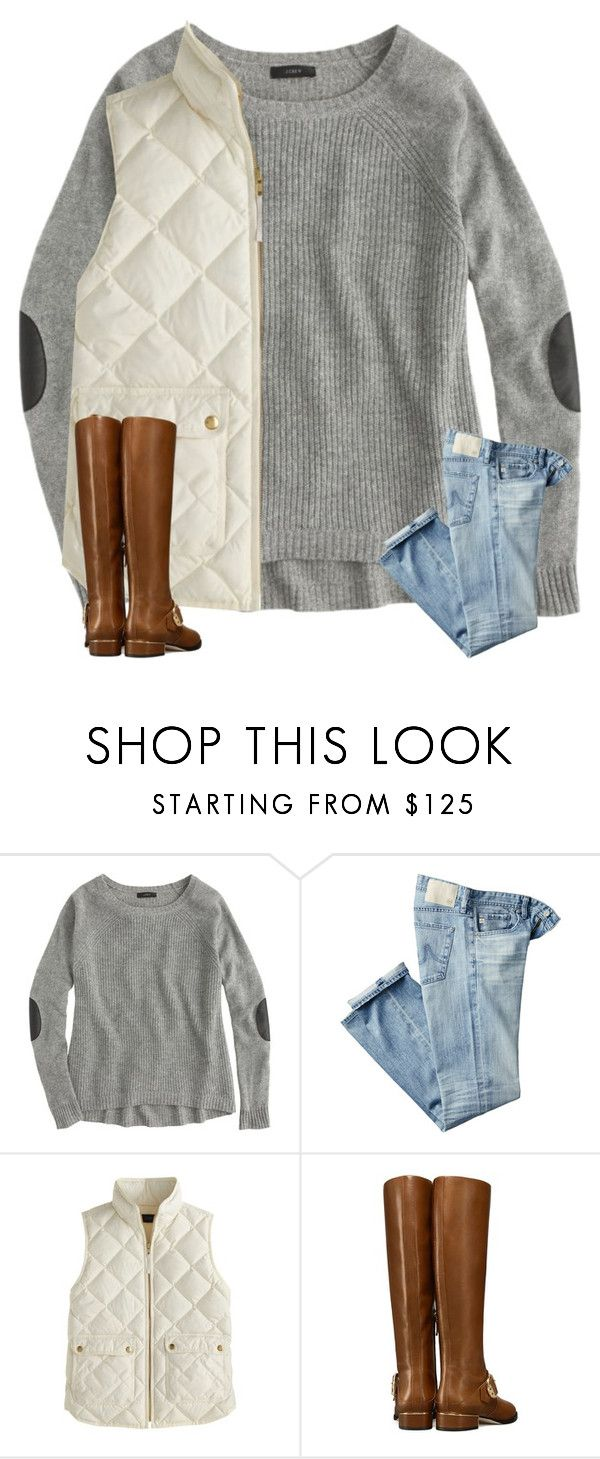 """""""taking a break for a little while"""" by amararangwala ❤ liked on Polyvore featuring J.Crew, AG Adriano Goldschmied and Tory Burch"""