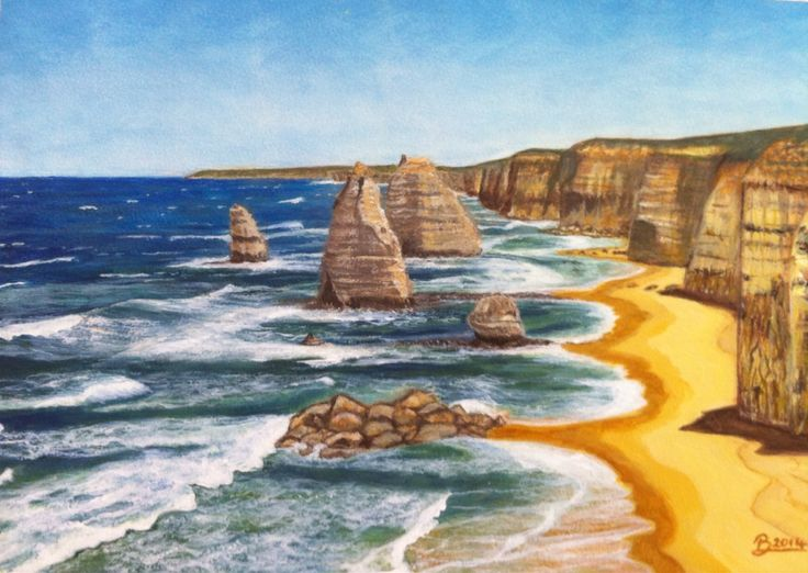 12 Apostles acrylic on cotton paper (A3) - October 2014.