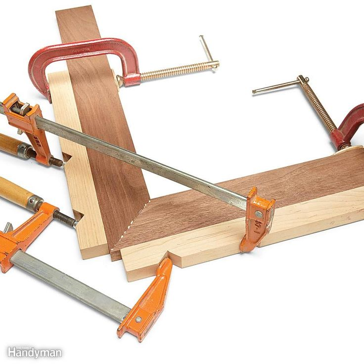 Make Your Own Corner Clamps - Here's an old favorite trick among woodworkers. Clamp on notched blocks, then add a bar clamp or two to squeeze the joint. This allows you to put a lot of pressure on the joint without buying any special clamps. If you're assembling a four-sided project such as a picture frame, join two corners first. Then, after the glue has set, join the two halves of the frame.
