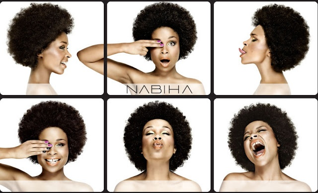 Six portraits of Nabiha Bensouda with her hair in an afro making faces