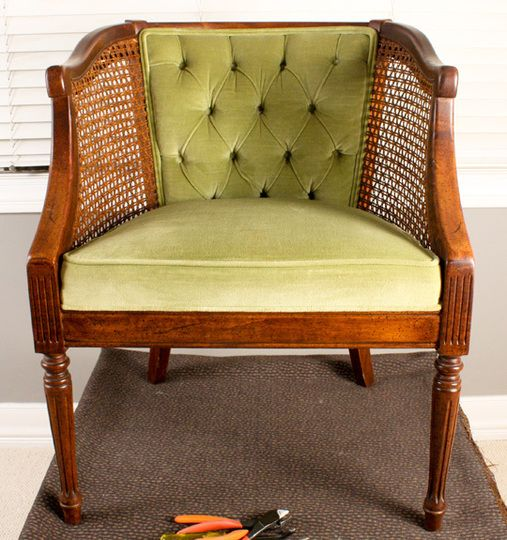 How to French Tuft a Cane Chair from Apartment Therapy.  - I actually like the tufting on the original chair much more but thought I would see if the steps are helpful.