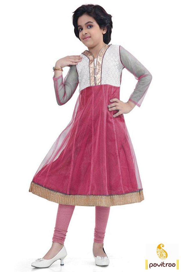 Charming and beautiful maroon and white net kids wear anarkali suit by Fashion…