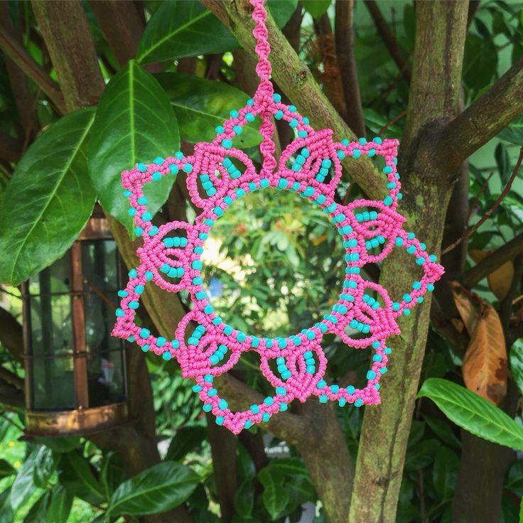 Macrame mirror with pink hemp by Evergreen Bohemian