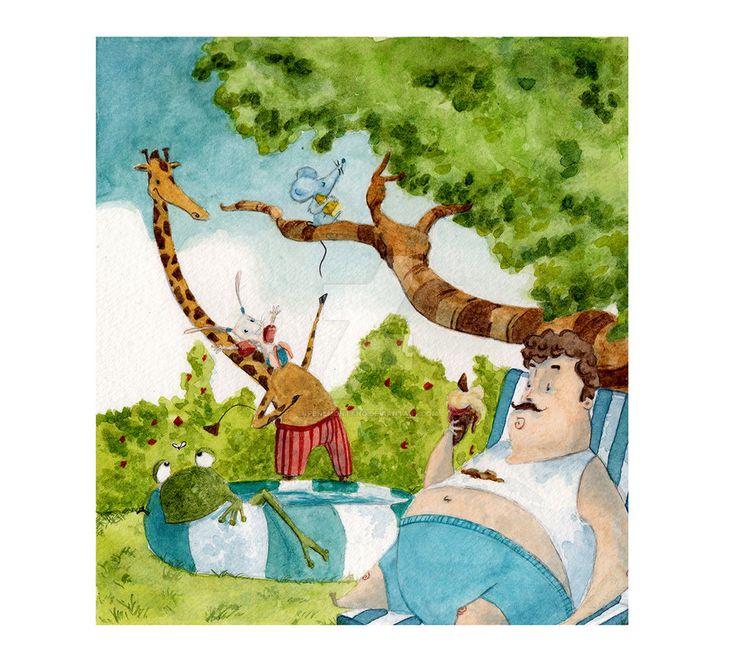 In un giorno di sole... by IreneMontano on DeviantArt #childrenillustration #fantasy #frog #giraffe #mouse #rabbit