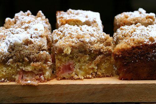 Rhubarb big-crumb coffee cake