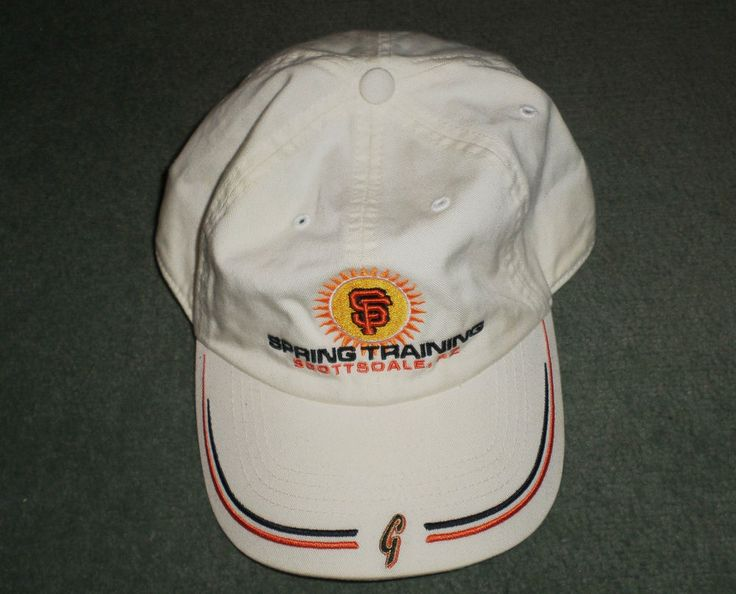 Mens White, Black SAN FRANCISCO GIANTS MLB Spring Training Hat, Adjustable Strap #sfgiants #MLBSanFranciscoGIANTSSpringTrainingArizona #BaseballCap