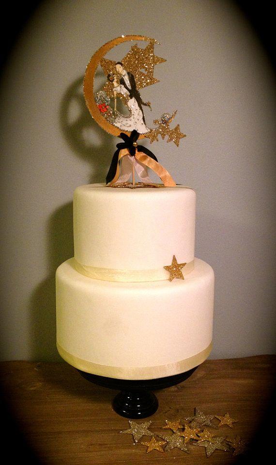 Wedding Cake Topper  Custom Illustrated  by JolieEnRoseVintage, $125.00