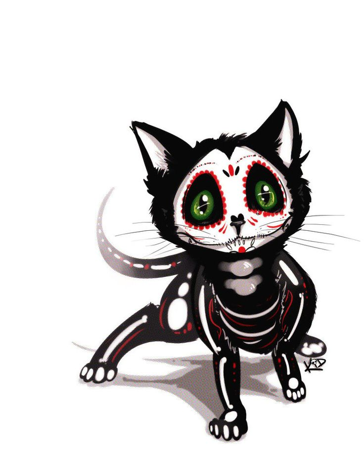 Sugar Skull Kitty by kidbrainer                                                                                                                                                                                 More