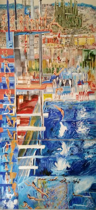 Diving competition - BACHMORS #LoveArt #bachmors #contemporaryart  #metamodernism #artist #palettes #color #painting #art  #SellingArt  #MakingArt #VendoArte #ArteContemporaneo #AllStyles #metamodernismo # Saatchiart @Saatchiart @ArtPal @bachmors #expressionism
