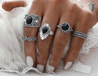 lot de 5 bague de phalange  Vintage bijoux fantaisie femme