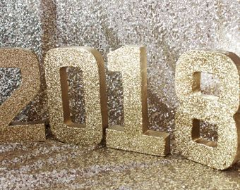 2018 GLITTER GRADUATION NYE Numbers Glittered Free Standing Gold Silver Number Congrats Grad Party Decor Sign Signage Decoration New Years