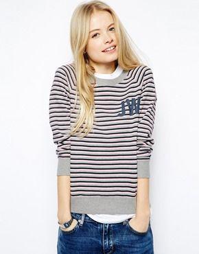 Image 1 ofJack Wills Striped Crew Neck Sweatshirt