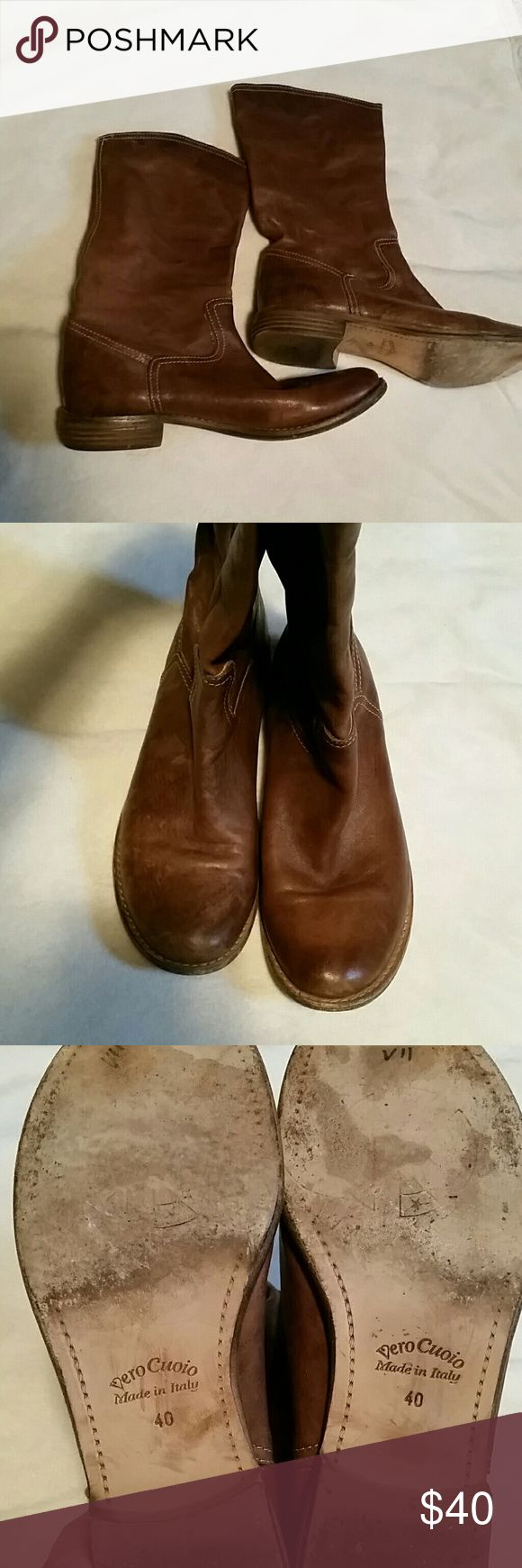 Vero Cuoio Italian leather brown flat boots Beautiful boots,  super soft inside and out. Gently worn and still in beautiful condition. Solid and sturdy construction. Vero Cuoio  Shoes Ankle Boots & Booties