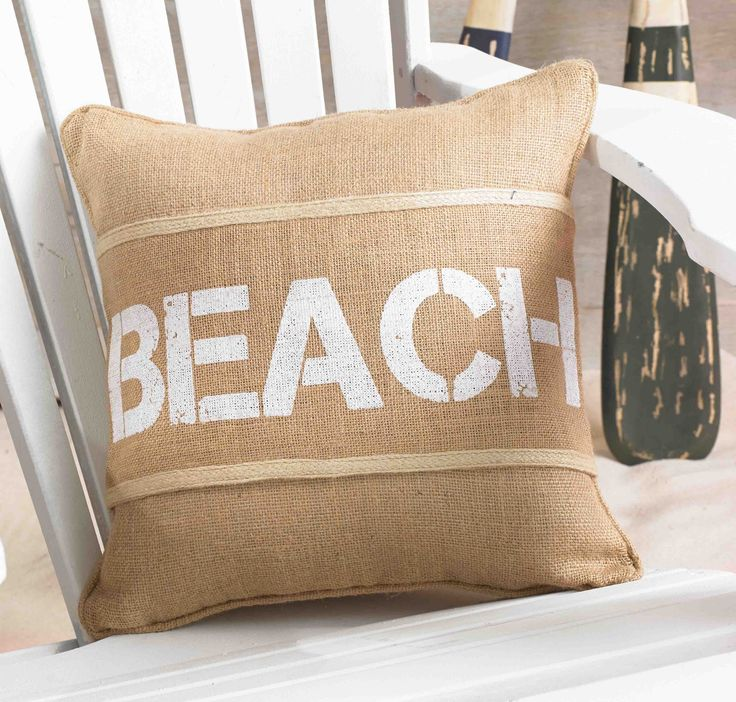 *** FREE SHIPPING OVER $100 for qualifying orders (see below) Natural burlap pillow wrap features bold block printed Beach and coordinating trim detail. Velcro wrap adjusts to pillow size. Pillow Sold