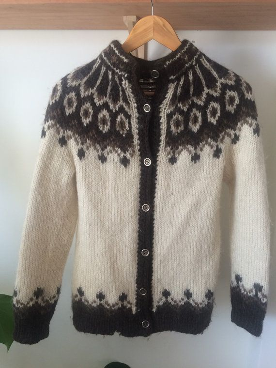Vintage icelandic wool cardigan by Valentinevintage2014 on Etsy