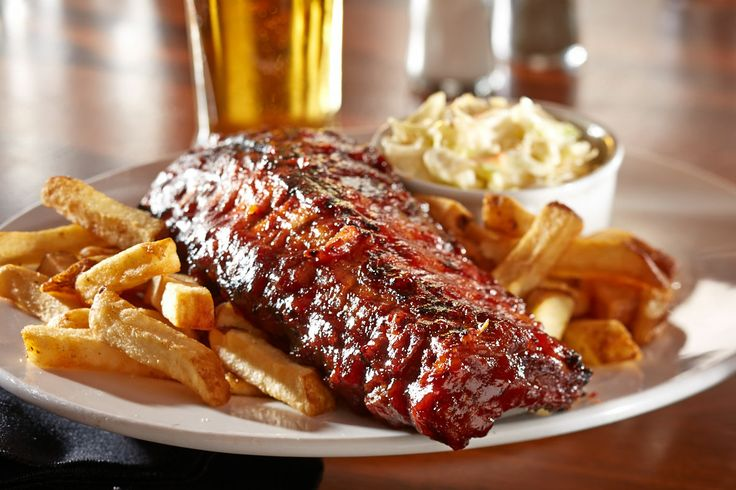 Entree Food Photography of Rack of Barbecue Ribs with French Fries and Coleslaw [BP imaging - Bochsler Photo Imaging]