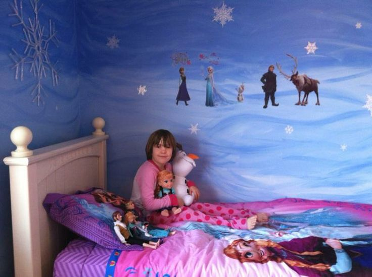 My sister's Disney FROZEN inspired bedroom!! Decals and bedding found online, the painting is easy!