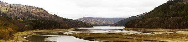 Autumn panorama with dry Bicaz Lake on Bistrita River in Neamt county - ROMANIA