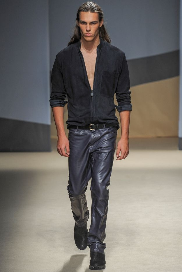 Whereas this fine fellow from the Trussardi show looked like he'd walked straight off the cover shoot for one of those extra-risqué Harlequin novels. | 31 Mad, Glamorous And Half-Naked Happenings At Milan's Menswear Shows