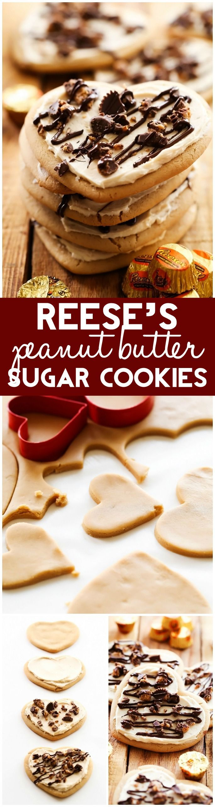 Delicious Peanut Butter Sugar Cookies that are the perfect flavor and texture! They are topped with an incredible Peanut Butter Buttercream, sprinkled with REESE'S chocolates and drizzled with chocolate. These are sure to be a huge hit!