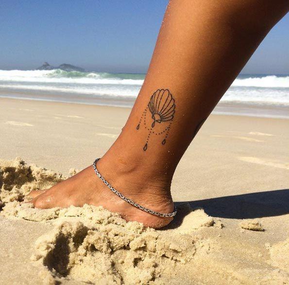 Ornamental Shell Tattoo on Ankle by Amanda Guarany
