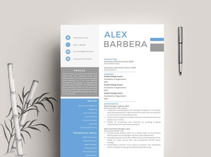 cv template resume template for word cover letter advice 1 2 page cv templates included instant download mac or pc alex - How Do You Write A Cover Letter For A Resume