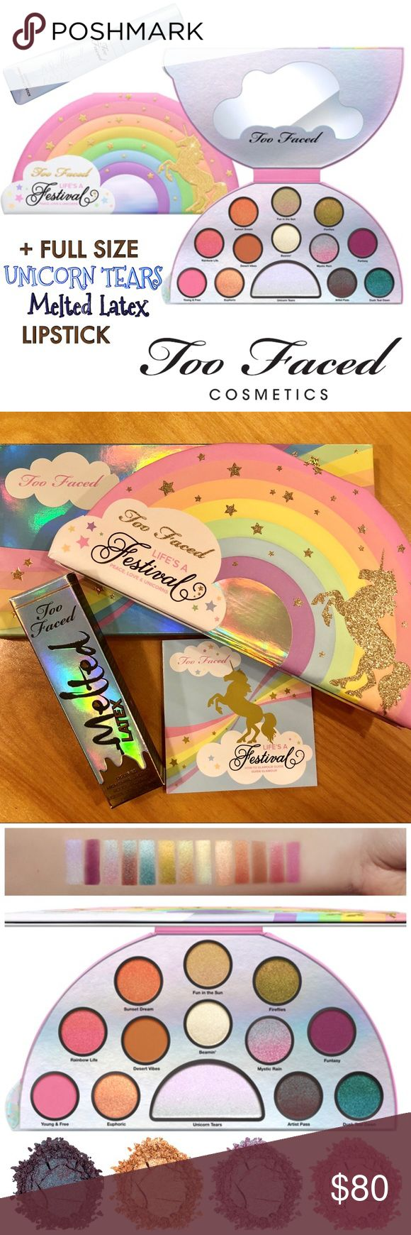 NEW Too Faced FESTIVAL Palette & MELTED Lipstick Brand new. Original boxes. NEVER swatched. A 2-Piece TOO FACED Set:   LIFE'S A FESTIVAL Ethereal Eyeshadow Palette  ➕  FullSize MELTED LATEX Lipstick in 'Unicorn Tears'.  THIS lipstick inspired the LIFES A FESTIVAL Collection - and it's now SoldOut on TF's site.  Guaranteed authentic as always. Smoke free home. Plus GREAT gifts!  A MAGICAL PAIR: An ethereal, mystical palette of duo-chrome shades, bold creamy mattes, and a Unicorn Tears