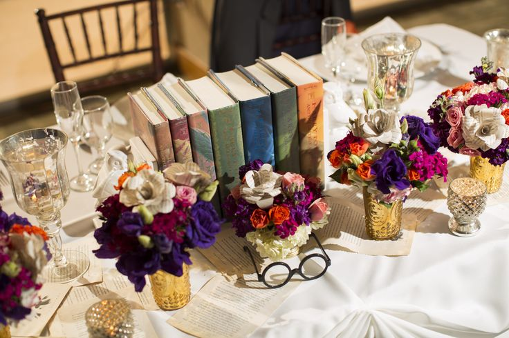 A centerpiece used in harry potter themed quinceañera