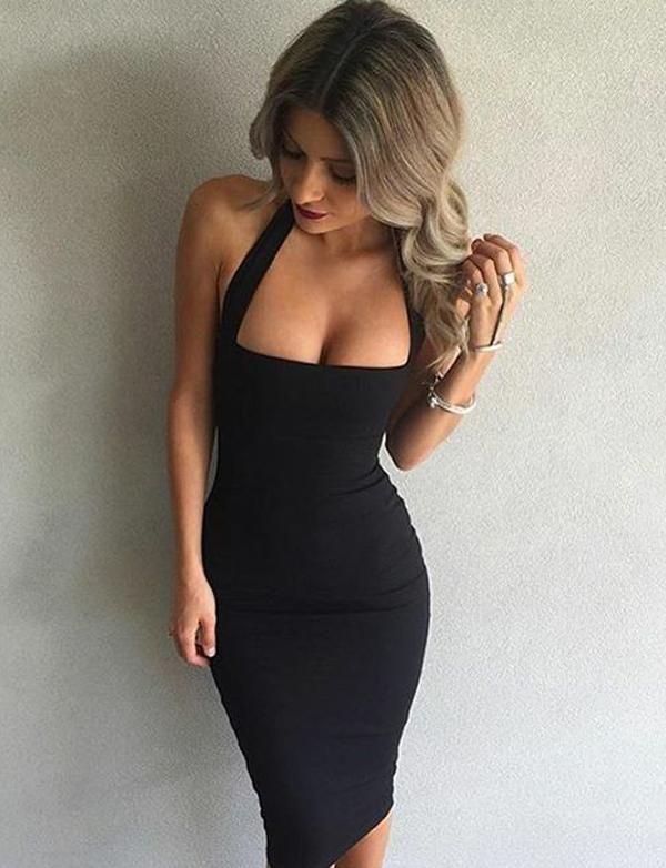 5d077bf8 Sexy Black/White Halter Mid-Calf Bodycon Dress | Fashion | Halter ...