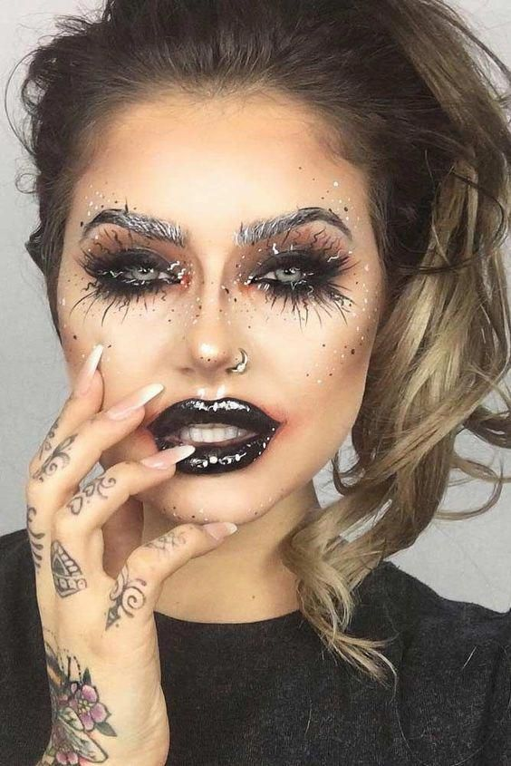 Halloween makeup look. Beautiful women