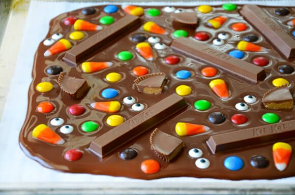 These came out fantastic - posted onFacebook Halloween Candy Bark Recipe from justataste.com