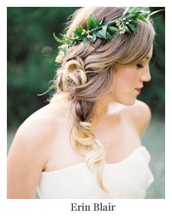 Wedding Hairstyles with Flowers ~ Messy side braid with flower hair wreath by Erin Blair