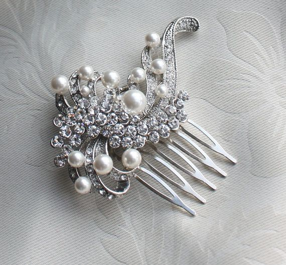 Bridal crystal Pearls Hair Brooch for wedding by WearableArtz, $39.99