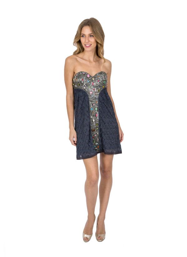 95d5aa5fe014e Our Closet Missoni Navy Metallic Mini Strapless Dress With Custom Jewellery  Embellishments