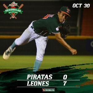 Mérida, Yuc. (www.leones.mx / Mario Serrano) 30 de octubre.- Los Piratas de Escárcega y Leones de Yucatán dividieron triunfos este domingo e...